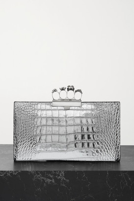 Alexander McQueen Four Ring Embellished Croc-effect Leather Clutch - Silver