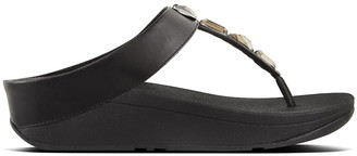 FitFlop Roka Black Leather Toe Post Sandals