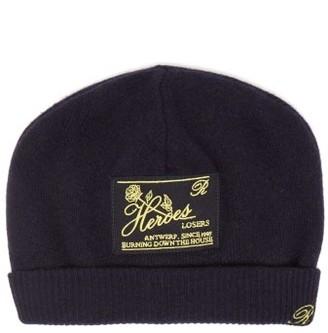 Raf Simons Heroes-embroidered Wool-blend Beanie Hat - Dark Navy