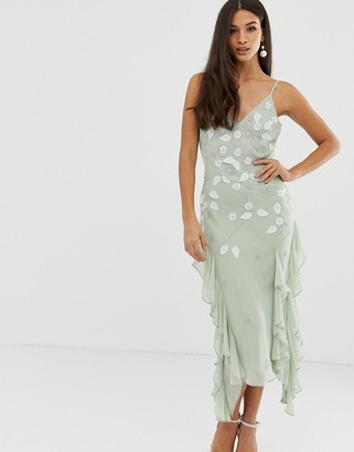 ASOS DESIGN strappy midi dress with ruffles and 3D embellishment