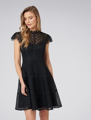 Forever New Ella Lace Skater Dress - Black - 4