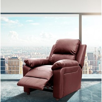 Montana Reclining Heated Massage Chair Latitude Run Fabric: Faux Leather Burgundy