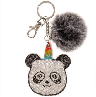 Bari Lynn Crystal Keychain Panda With Fur Pom Pom