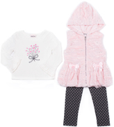 Little Lass Blush Faux Fur Hooded Vest Set - Infant, Toddler & Girls