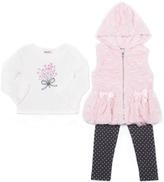 Little Lass Blush Faux Fur Hooded Vest Set - Toddler & Girls