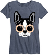 Instant Message Women's Women's Tee Shirts HEATHER - Heather Blue Daisy Sunglasses Dog Relaxed-Fit Tee - Women