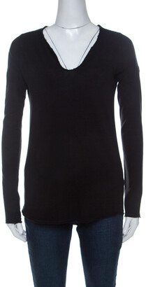 Zadig and Voltaire Black Cotton V Neck Long Sleeve Tunys ML T Shirt XS