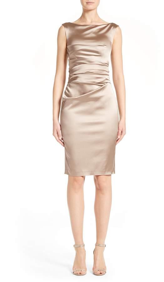Talbot Runhof Stretch Satin Sheath Dress