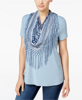 Style&Co. Style & Co. T-Shirt with Printed Fringe Scarf, Only at Macy's