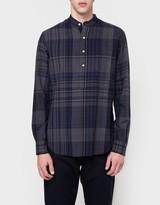 Gitman Brothers Big Madras Check LS-Banded-Popover in Navy