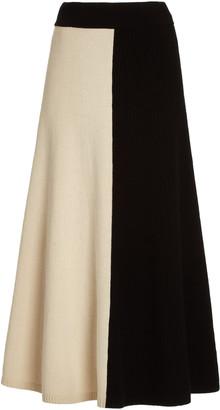 Joseph Colorblock Wool Maxi Skirt