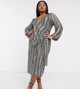 Asos DESIGN Curve long sleeve sparkle wrap midi dress-Black