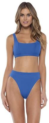 Becca by Rebecca Virtue Fine Line Olivia Square Neck Bralette Top (Blue Dazzle) Women's Swimwear