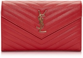Saint Laurent Monogram Lipstick Red Textured and Quilted Leather Wallet Clutch w/Chain