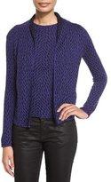 Armani Collezioni Intarsia Open Wool Cardigan, Imperial Purple/Multi