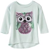 Miss Chievous Girls 7-16 3/4-Length Sleeve Sequin High-Low Hem Lurex Tee