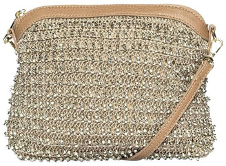Mocha Beaded Gold Crossbody Bag