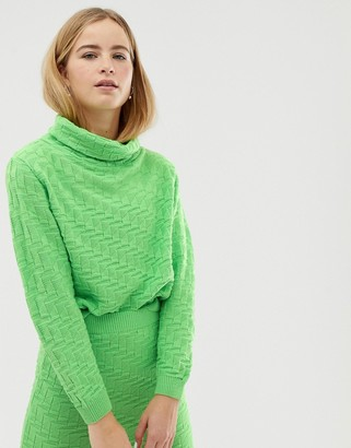 Asos Design DESIGN co-ord textured high neck jumper-Green