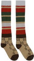 Gucci Beige and Brown Multi Band GG Socks