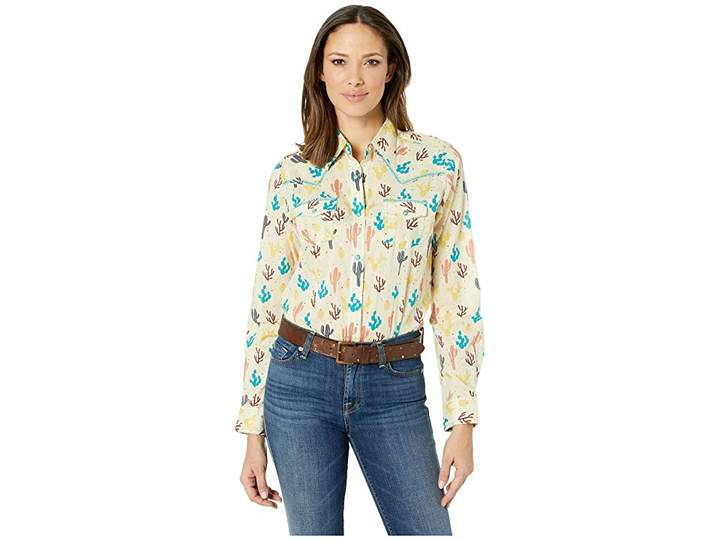 Wrangler Western Long Sleeve Snap Cactus Print Shirt