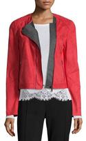 Elie Tahari Luana Suede Jacket with Bonded Jersey Detail