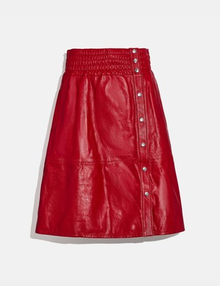 Coach Smocked Leather Skirt
