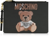 Moschino Teddy Bear Print Saffiano Leather Oversized Clutch