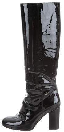 Chanel Patent Leather CC Boots