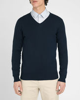 M.STUDIO Renaud navy V-neck cotton sweater