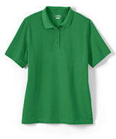 Classic Women's Petite Short Sleeve Mesh Polo Shirt-White