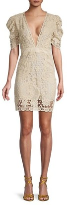 LoveShackFancy Danielle Lace Puff-Sleeve Dress