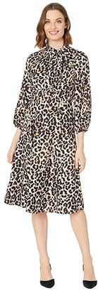Calvin Klein 3/4 Sleeve Animal Print A-Line Dress with Tie Neck (Khaki Multi) Women's Dress