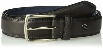 Nautica Men's Belt with Dress Buckle and Stitch Comfort-black 48