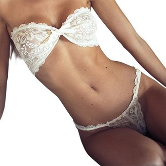 Robot Gxg Women Lace Three Points Bikini Pure White Bow Knot Lingerie Lace Bandage Open Crotch G String