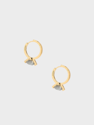 Charles & Keith Labradorite Stone Huggie Hoop Earrings