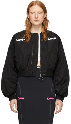 Off-White Black Cropped Varsity Bomber Jacket