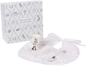 English Trousseau Egg Cup, Spoon and Bib Set