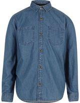River Island Boys blue wash denim shirt