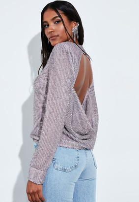 Missguided Lilac Sequin Embellished Cut Out Drape Back Top