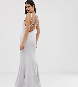 Jarlo Tall halterneck maxi dress with multi strap drop back in silver grey