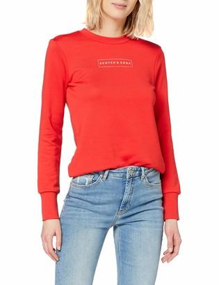 Scotch & Soda Maison Women's Club Nomade Crew Neck Sweat with Chest Print Sweatshirt