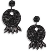 Kenneth Jay Lane Seed Bead Round Gypsy Hoop Clip-On Earrings