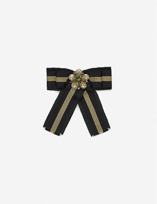 Gucci Bow grosgrain and crystal brooch