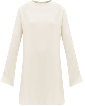LA COLLECTION Bianca Fluted-sleeve Silk-crepe Mini Dress - Ivory