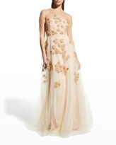Thumbnail for your product : Carolina Herrera Bead-Embroidered Tulle Illusion Gown