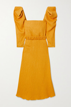 Johanna Ortiz Lotus And Beetle Belted Textured Woven Midi Dress - Yellow