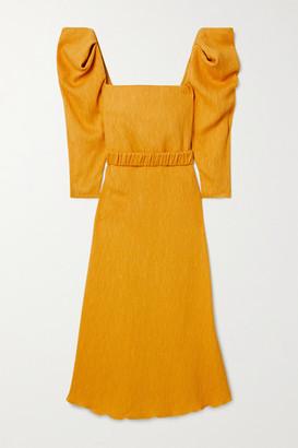 Johanna Ortiz Lotus And Beetle Belted Textured Woven Midi Dress