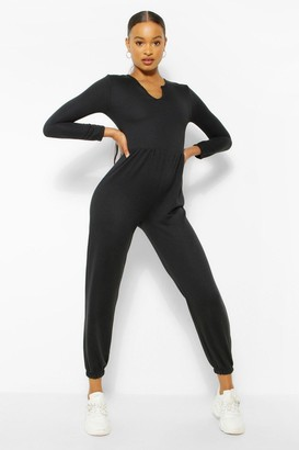 boohoo Notch Neck Loopback Long Sleeve Sweat Jumpsuit