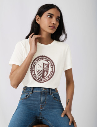 Maje Screen-printed college-style T-shirt