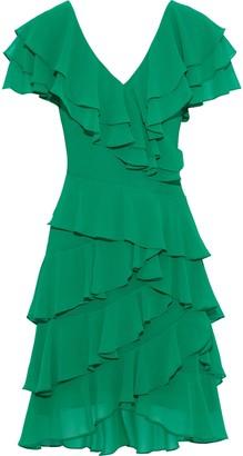 Badgley Mischka Ruffled Georgette Dress